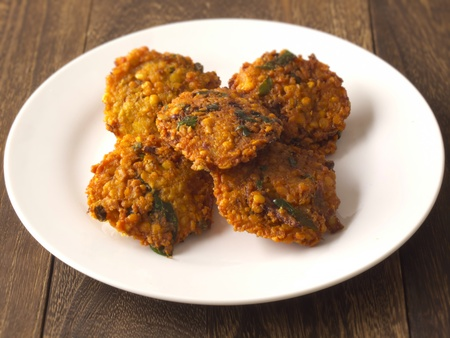 indian spice: close up of a plate of masala vada Stock Photo