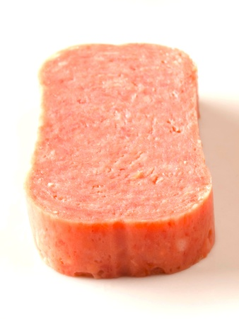 close up of spam on white