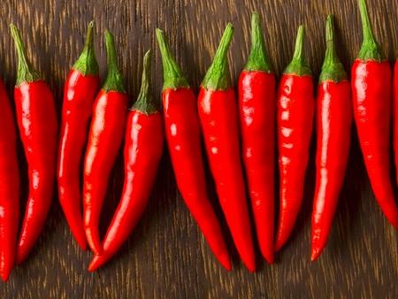 padi: close up of asian red chili padi on table