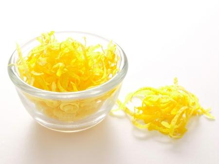 close up of a bowl of lemon zest