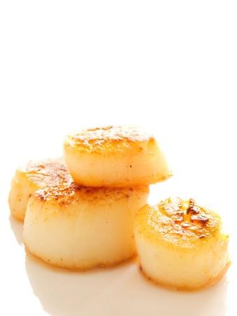 close up of pan seared sea scallops