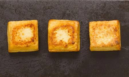 bean curd: close up of fried tofu cubes