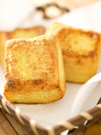 close up of a basket of fried tofu cubes Stock Photo - 13519776