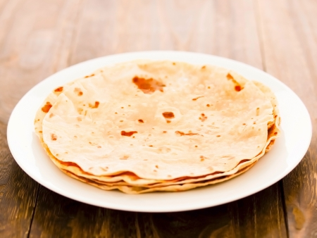 close up of a plate of indian chapati bread