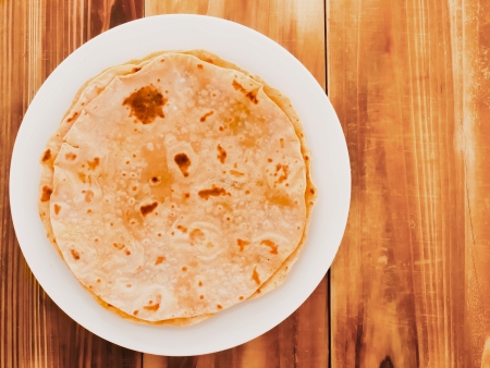 close up of indian chapati bread