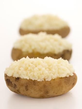 jacket potato: close up of baked potatoes Stock Photo