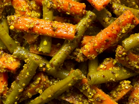 close up of indian carrot and bean pickle food background photo