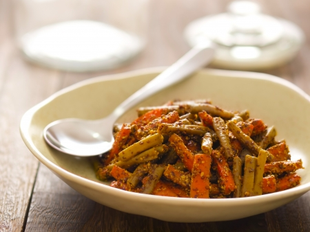 close up of a bowl of indian carrot and bean pickle Stock Photo - 14157301