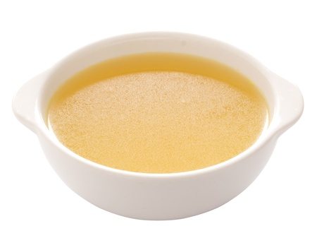 broth: close up of a bowl of chicken broth