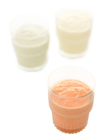 close up of glasses of indian lassi drinks photo