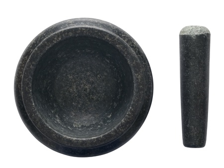 close up of asian pestle and mortar isolated on white Stock Photo - 15518656