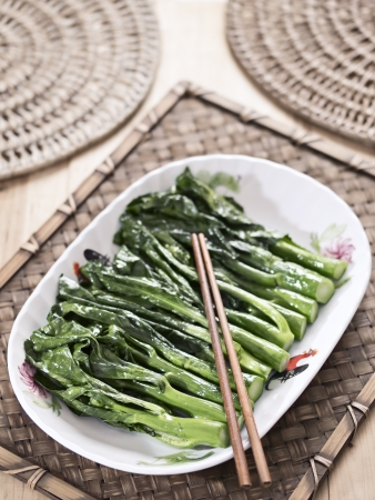 stir up: close up of stir fried kai-lan chinese broccoli