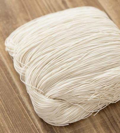close up of chinese wheat flour noodles