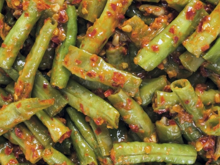 close up of stir fried long beans in chili shrimp paste Stock Photo - 17337429