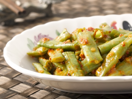 close up of a plate of stir fried long beans in chili shrimp paste Stock Photo - 17337473