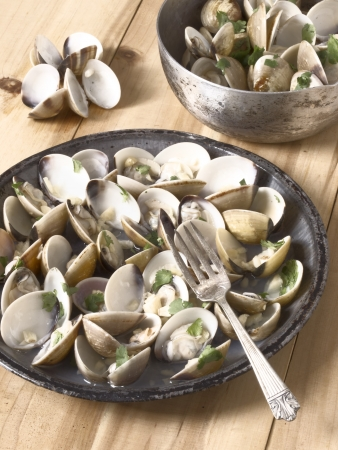 close uo: close uo of a plate of white clams in white wine sauce Stock Photo