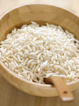 puffed: close up of a bowl of puffed rice
