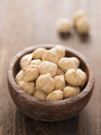 close up of a bowl of white candlenuts