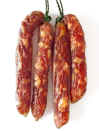 close up of fatty chinese pork sausages