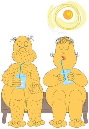 oud echtpaar uit koelen in een hittegolf Stock Illustratie