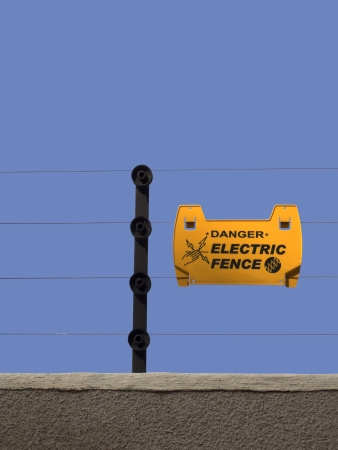 keepout: close up of an electric fence Stock Photo