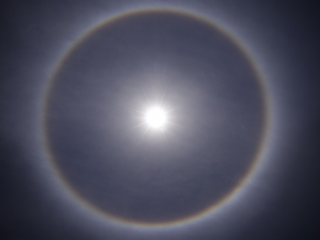 solar halo optical phenomenon Stock Photo