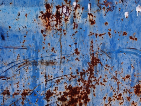 blue metallic background: close up of rusty blue metallic background