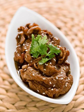 ボウル韓国プルコギ牛肉のクローズ アップ