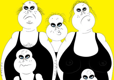 horrible: horrible family portrait vector illustration