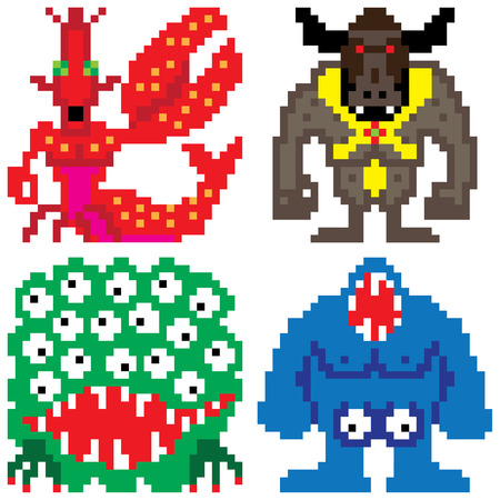 worse: worse nightmare terrifying monsters pixel art Illustration