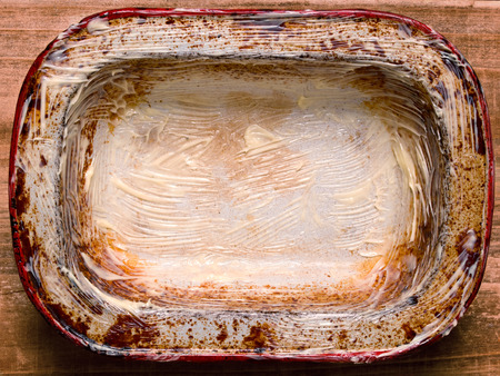 buttered: close up of rustic shabby buttered pie tin Stock Photo