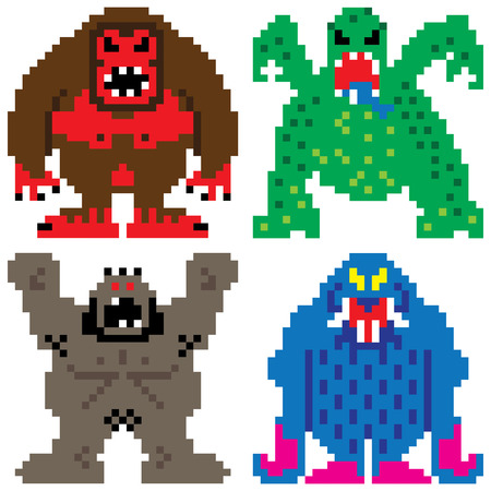 terrifying: worse nightmare terrifying monsters retro computer eight bit pixel art
