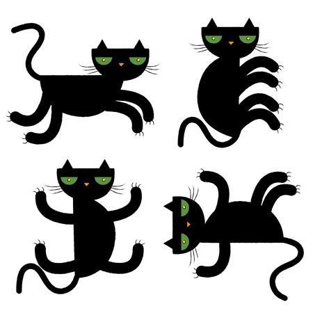 misfortune: black cat collection vector illustration Illustration