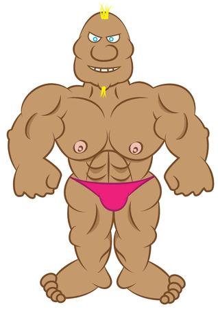 beefcake: cartoon bodybuilder vector illustration