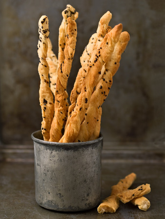 grissini: close up of rustic italian grissini breadstick