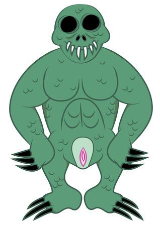 com escamas: escamosa sangue frio monstro verde ilustra��o vetorial