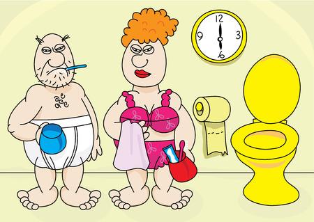 washup: coppia di anziani svegliarsi la mattina illustrazione
