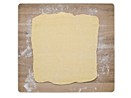 pastry: close up of puff pastry dough on baking board Stock Photo