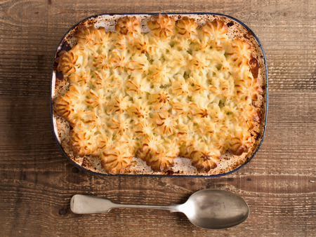 shepards: close up of rustic traditional british shepard pie Stock Photo