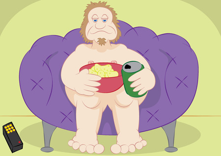 couch potato: lazy guy couch potato with chips and beer vector illustration