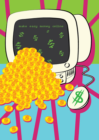 money online: make money online concept illustration