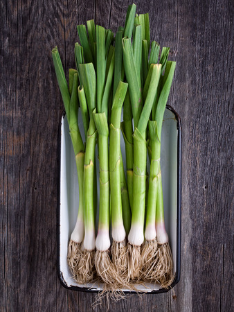 close up of a rustic tray of leek
