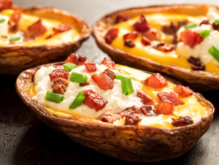baked: close up of rustic baked potato skin