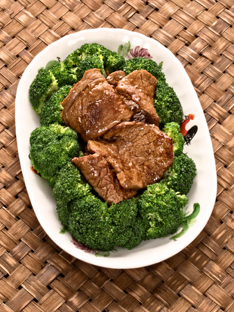 chinese american: close up of a plate of american chinese beef and broccoli Stock Photo