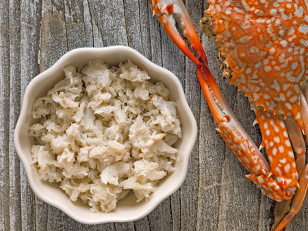 close up of rustic chunky cooked crab meat