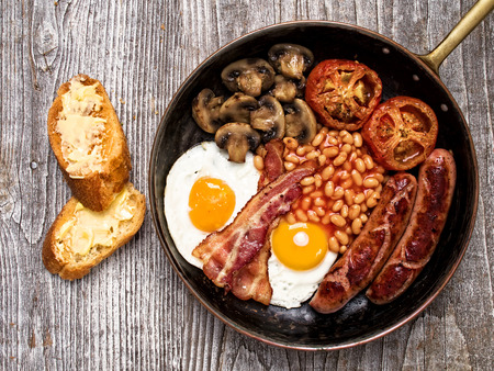 frankfurter: close up of rustic full english breakfast