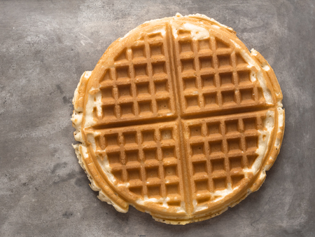 sweet and savoury: close up of rustic plain waffle