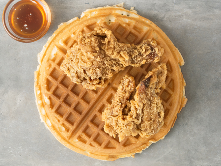 waffle: close up of rustic southern american comfort food chicken waffle Stock Photo