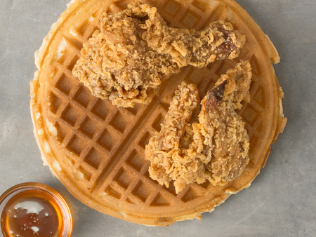 comfort food: close up of rustic southern american comfort food chicken waffle Stock Photo