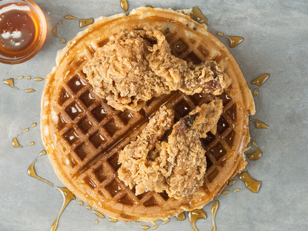 southern: close up of rustic southern american comfort food chicken waffle Stock Photo